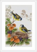 Luca-S Counted Cross Stitch Kit Birds in Nest