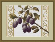 Luca-S Counted Cross Stitch Kit Plums on White