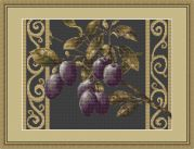 Luca-S Counted Cross Stitch Kit Plums on Black