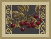 Luca-S Counted Cross Stitch Kit Cherries on Black
