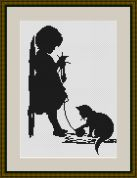 Luca-S Counted Cross Stitch Kit Girl with Cat