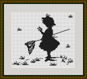 Luca-S Counted Cross Stitch Kit Girl with Butterflies