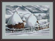 Luca-S Counted Cross Stitch Kit Snow Covered Stacks