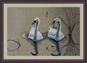 Luca-S Counted Cross Stitch Kit Swans Pair