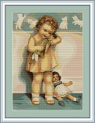 Luca-S Counted Cross Stitch Kit Girl with Doll