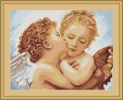 Luca-S Counted Cross Stitch Kit First Kiss Detailed