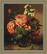 Luca-S Counted Cross Stitch Picture Kit Vase of roses & flowers