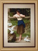 Luca-S Counted Cross Stitch Kit The Girl Playing with Pigeons