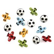 Impex Football & Planes Novelty Buttons