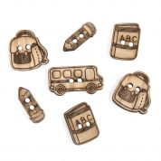 Impex School Days Wooden Buttons