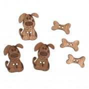 Impex Dog & Bone Wooden Buttons