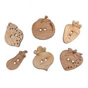 Impex Fruit & Veg Wooden Buttons