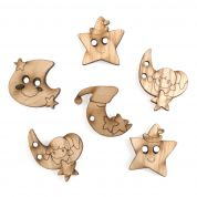 Impex Moon & Stars Wooden Buttons