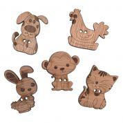 Impex Animals Wooden Buttons