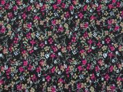 Floral Print Needlecord Dress Fabric  Plum on Black