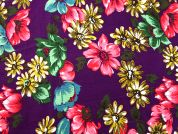 Floral Print Needlecord Dress Fabric  Multicoloured