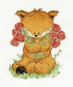 DMC Toby Fox with Roses Counted Cross Stitch Kit