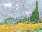 DMC Van Gogh A Wheatfield with Cypresses Counted Cross Stitch Kit