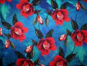 John Kaldor Floral Print Silk & Rayon Satin Dress Fabric  Red & Green