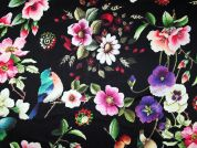 John Kaldor Floral & Bird Print Silk & Rayon Satin Dress Fabric  Multicoloured
