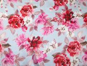 John Kaldor Floral Print Silk & Rayon Satin Dress Fabric  Pink
