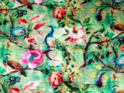 John Kaldor Peacock Floral Print Silk & Rayon Satin Dress Fabric  Pink & Green