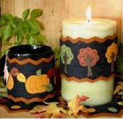Bare Roots Easy Sewing Pattern Autumn Candle Wraps & Mini Mats