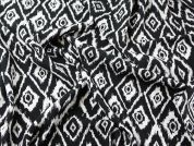 Ikat Print Viscose Dress Fabric  Black & White
