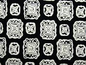 Abstract Print Stretch Jersey Knit Dress Fabric  Black & Ivory
