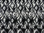 Geometric Print Stretch Jersey Knit Dress Fabric  Black & Ivory