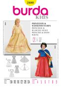 Burda Childrens Easy Sewing Pattern 2480 Princess & Snow White Fancy Dress Costumes