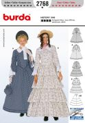 Burda Ladies Sewing Pattern 2768 Historical Hooped Skirt 1848 Fancy Dress Costumes