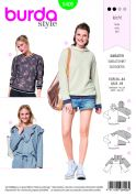 Burda Ladies Easy Sewing Pattern 6406 Tops & Hoodies With Rib Knit Bands