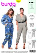 Burda Ladies Plus Size Sewing Pattern 6444 Elastic Waist Jumpsuits