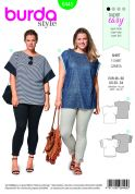 Burda Ladies Plus Size Easy Sewing Pattern 6445 Curved Hem Simple Tops