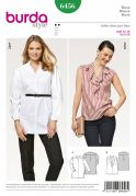 Burda Ladies Easy Sewing Pattern 6456 Flounce Blouse Tops
