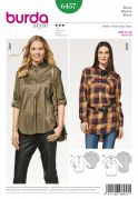 Burda Ladies Sewing Pattern 6457 Shirt Tops with Cuffed Sleeves