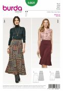 Burda Ladies Easy Sewing Pattern 6468 Ssymmetric Yoke Flared Skirts
