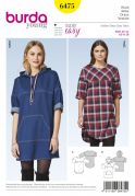 Burda Ladies Easy Sewing Pattern 6475 Casual Hooded Dresses