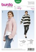 Burda Ladies Easy Sewing Pattern 6476 Pullover Collared Top