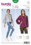 Burda Ladies Easy Sewing Pattern 6477 Loose Fit Blouse Tops