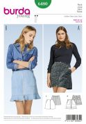 Burda Ladies Easy Sewing Pattern 6480 Zipper Front Mini Skirts