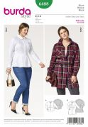 Burda Ladies Plus Sizes Sewing Pattern 6488 Peplum Shirt Top Blouses