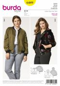 Burda Ladies Plus Size Sewing Pattern 6489 Bomber Jacket & Hoodie