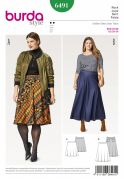 Burda Ladies Easy Plus Size Sewing Pattern 6491 Flared Skirts