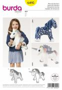 Burda Crafts Sewing Pattern 6495 Stuffed Animal Horse & Unicorn Toys