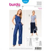 Burda Ladies Easy Sewing Pattern 6516 Top, Pants & Jumpsuit