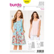 Burda Ladies Easy Sewing Pattern 6532 Loose Fit Dress & Top