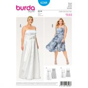 Burda Ladies Plus Size Sewing Pattern 6548 Wedding Dress & Strappy Dress