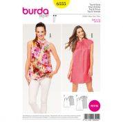 Burda Ladies Easy Petite Size Sewing Pattern 6555 Collared Top & Dress